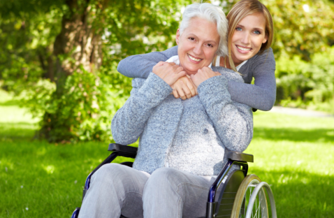 caregiver and a senior woman