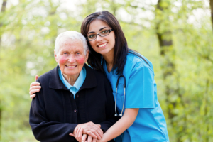 caregiver and senior woman